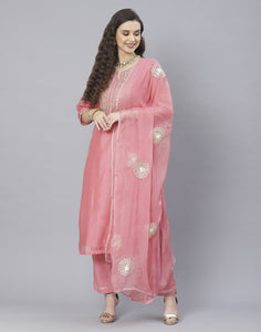 Peach Pink and Yellow Cotton Chanderi Salwar Kameez
