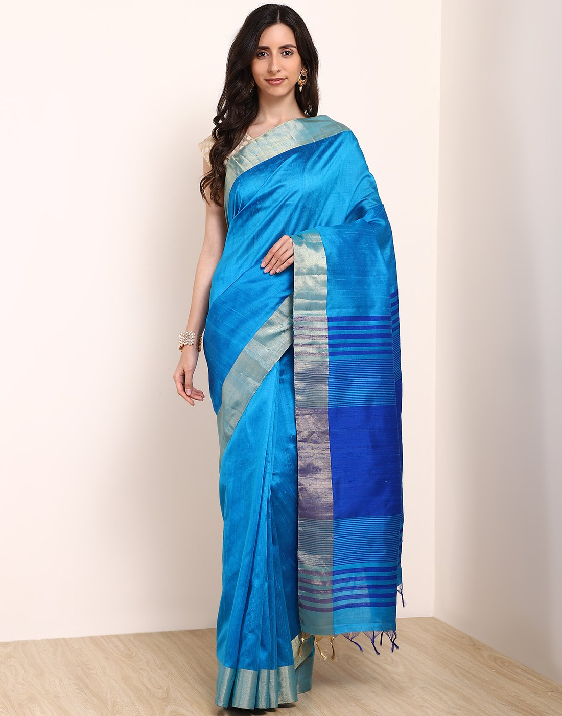 Royal Blue Woven Handloom Saree