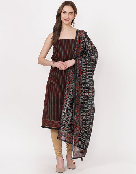 MBZ Meena Bazaar-Black Chanderi Suit Set