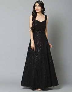 Elegant Black Net Long Dress