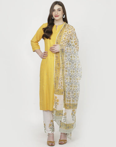 Yellow White Cotton Salwar Kameez