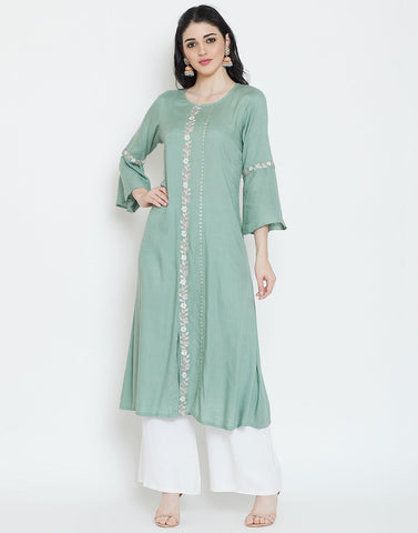 Dull Green Cotton Kurti