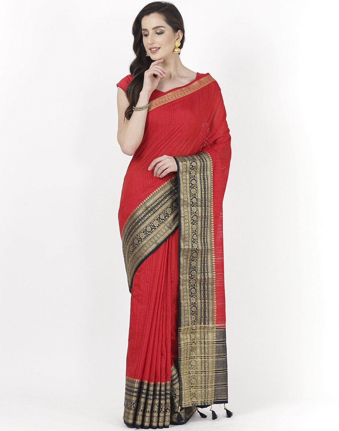Red Art Handloom Saree