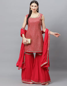 Elegant Red Art Crepe Stitched Gharara Set