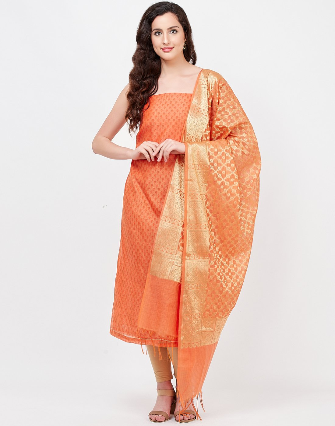 MBZ Meena Bazaar-Peach Beige Chanderi Suit Set