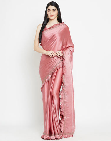 Onion Pink Satin Saree
