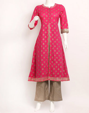 Rani Grey Cotton Kurti with Palazzo