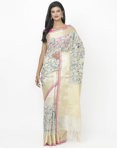 Beige Navy Cotton Tissue Saree