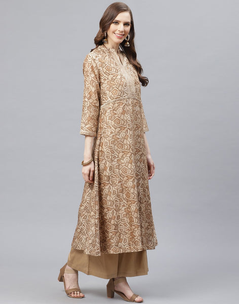 Straight Cotton Chanderi Kurta With Plazzo Set