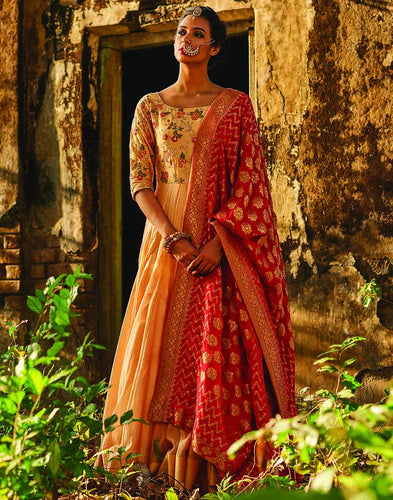 Meena Bazaar: Floral Embroidered Cotton Chanderi Anarkali