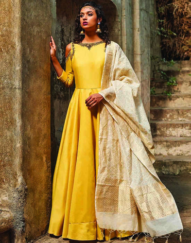 Meena Bazaar: Hand Embroidered Cotton Anarkali