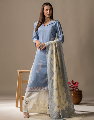 Cotton Printed Suit Set with Embroidery Bottom