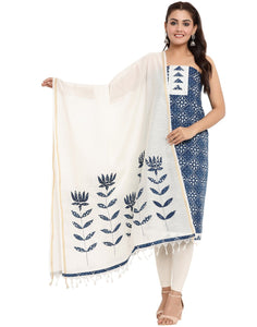 EMBROIDERED COTTON INDIGO UNSTITCHED SUIT SET