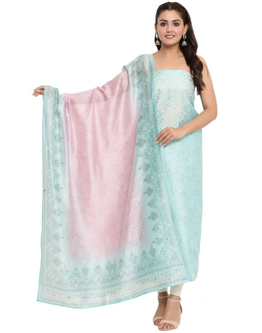 EMBROIDERED CHANDERI SKY BLUE UNSTITCHED SUIT SET