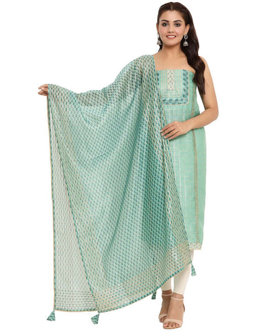 EMBROIDERED CHANDERI AQUA GREEN UNSTITCHED SUIT SET