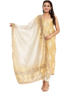 EMBROIDERED CHANDERI MUSTARD UNSTITCHED SUIT SET
