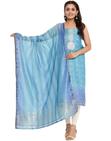 EMBROIDERED CHANDERI BLUE UNSTITCHED SUIT SET