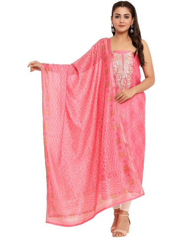 EMBROIDERED CHANDERI PINK UNSTITCHED SUIT SET