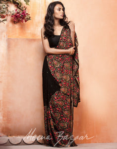 MBZ Meena Bazaar-Black colour georgette Saree With All-over Paisley Thread Embroidery