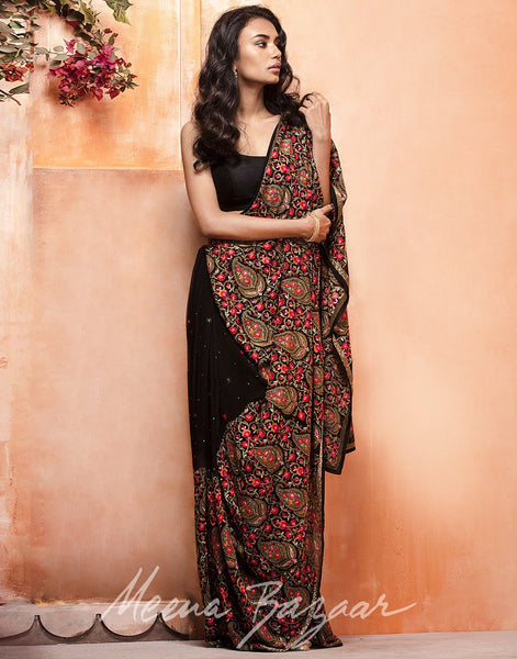 Meena Bazaar:Black colour georgette Saree With All-over Paisley Thread Embroidery