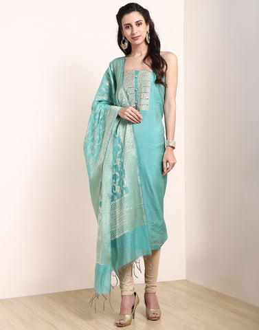 MBZ Meena Bazaar-Sea Green Chanderi Suit Set