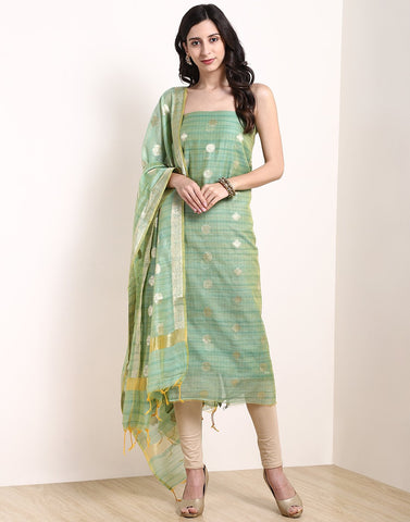 Sea Green Beige Chanderi Suit Set