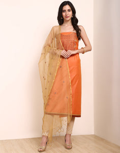 MBZ Meena Bazaar-Orange Cotton Chanderi Suit Set