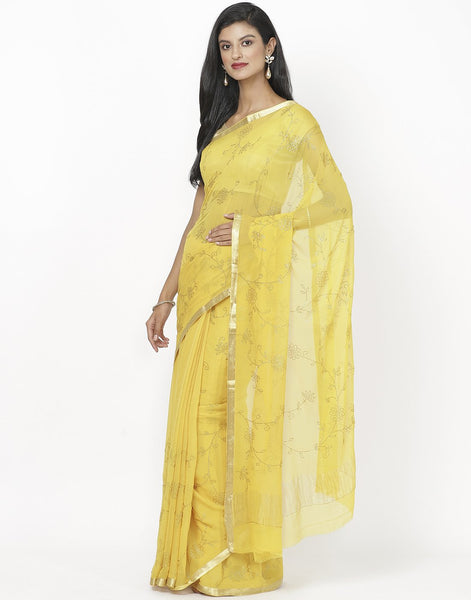 Yellow Chiffon Saree