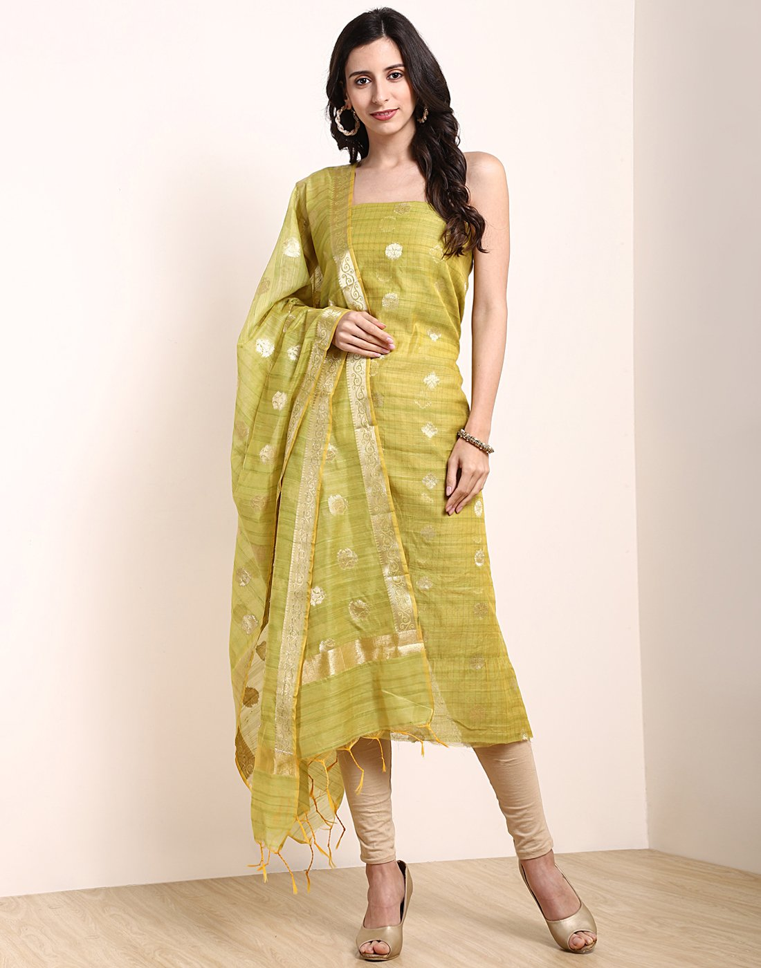 Pista Green Beige Chanderi Suit Set