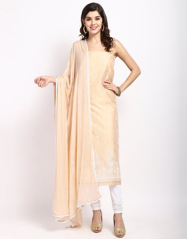 MBZ Meena Bazaar-Light Peach Cream Chanderi Suit Set