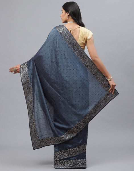 Dupion Silk Embroidery Saree