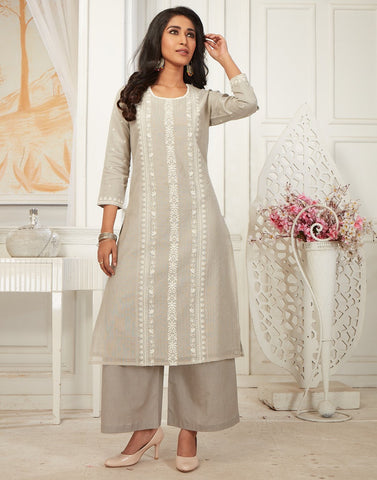 Cotton Chanderi Kurti with Palazzo