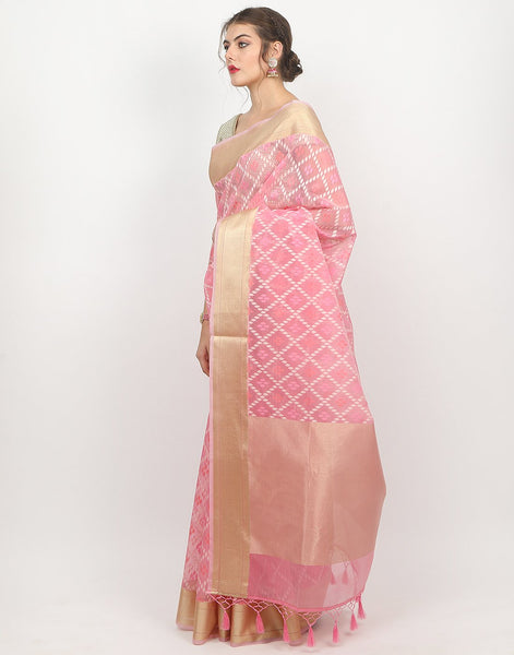 Pink Cotton Kora Saree