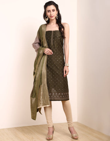 MBZ Meena Bazaar-Dull Green Chanderi Suit Set