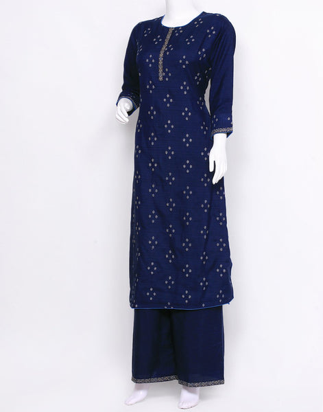 Ink Blue Art Tusser Kurti with Palazzo