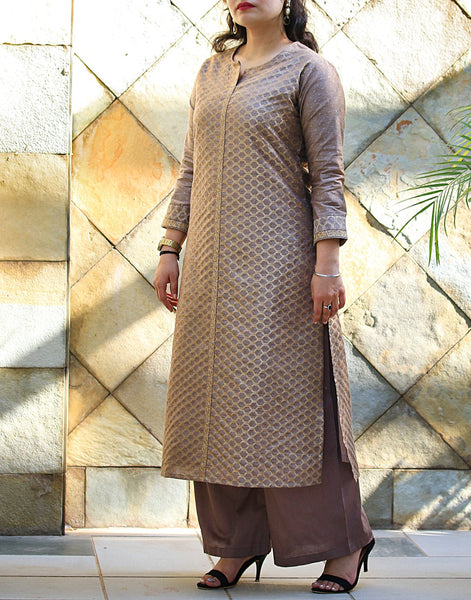 Mouse Art Tusser Kurti with Palazzo