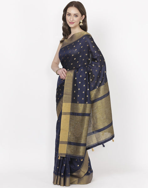 Navy Blue Art Tusser Saree