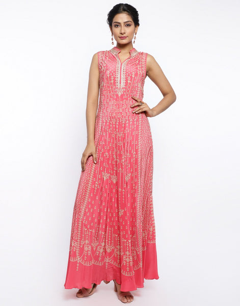 MBZ Meena Bazaar-Coral Pink Crepe Digital Printed Long Dress