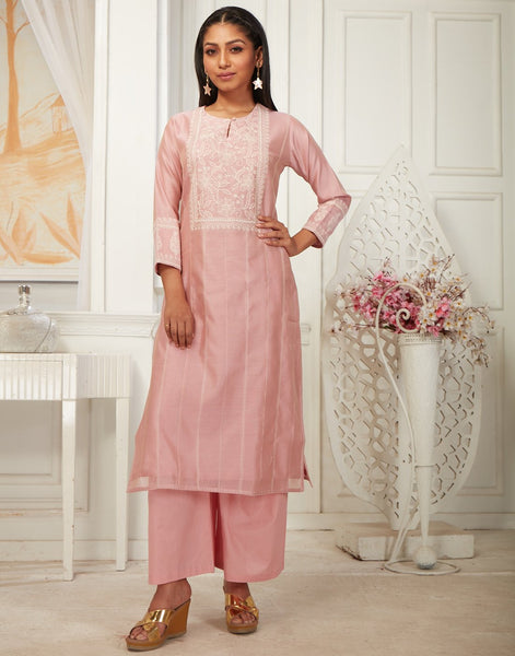 Cotton Chanderi Kurti with Plazzo