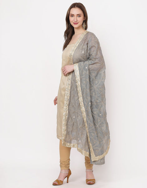 Beige Grey Cotton Suit Set