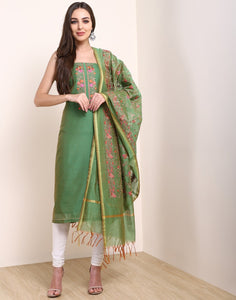 MBZ Meena Bazaar-Green Brown Chanderi Suit Set