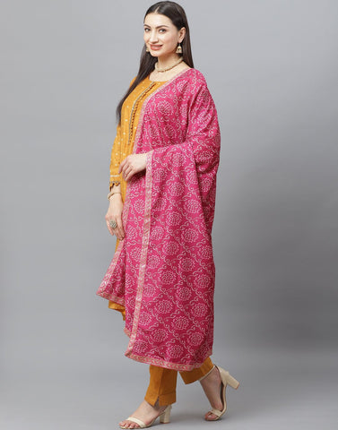Straight Cotton Chanderi Stitched Suit