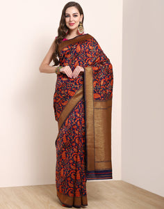 Navy Blue Orange Banarasi Art Handloom Saree