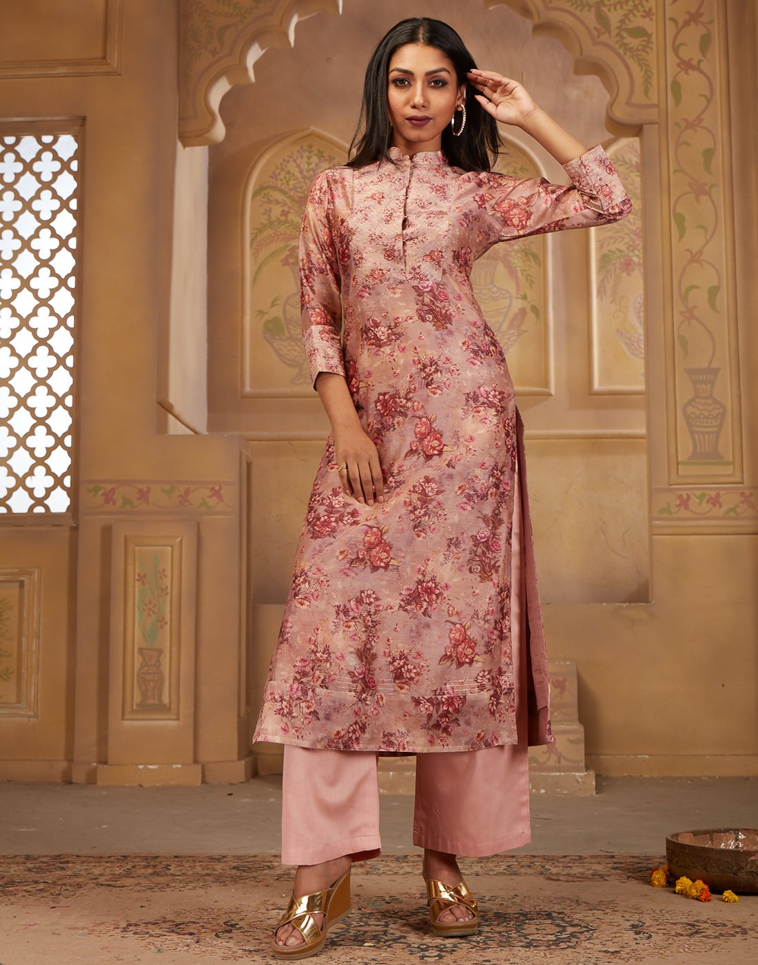 MBZ Meena Bazaar-Cotton Chanderi Printed Kurta with Plazzo