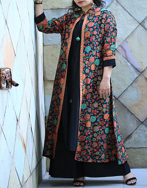 Black Multi Cotton Chanderi Kurti with Palazzo