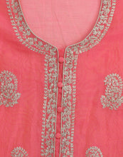Unstitched Cotton Chanderi Suit With Zari Thread Embroidery By Meena Bazaar