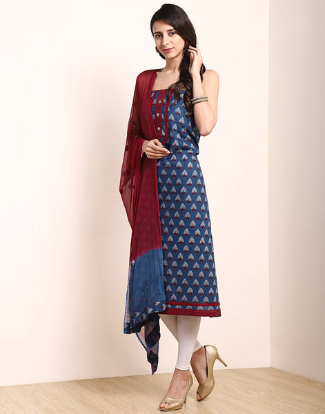 Blue Maroon Cotton Suit Set