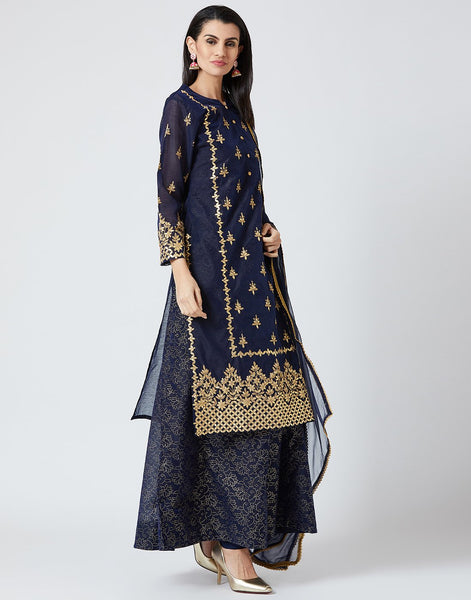 Navy Blue Cotton Chanderi Salwar Kameez