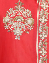 Semi-Stitched Handcrafted Cotton Chanderi Suit With Palazzos By Meena Bazaar