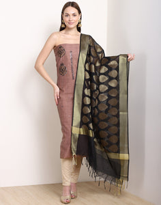 MBZ Meena Bazaar-Brown Black Chanderi Suit Set